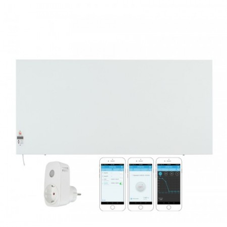КОМПЛЕКТ Инфрачервен отоплителен панел Sun Way SWRE 700, с програмируем електронен термостат, Метален + Смарт Wi-Fi Контакт Broadlink Contros SP3S