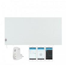 КОМПЛЕКТ Инфрачервен отоплителен панел Sun Way SWRE 1000, с програмируем електронен термостат, Метален + Смарт Wi-Fi Контакт Broadlink Contros SP3S